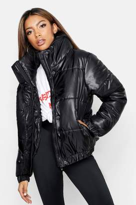 boohoo Funnel Neck Cire Puffer Jacket