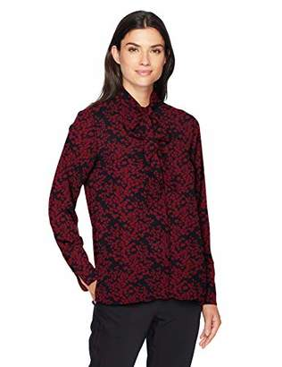 Lark & Ro Women's Long Sleeve Tie Neck Blouse