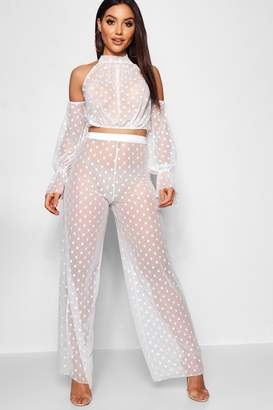 boohoo Spotty Mesh High Waisted Wide Leg Trouser