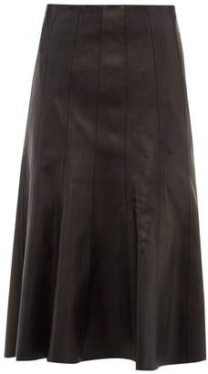 Balenciaga Fluted Hem Leather Midi Skirt - Womens - Black