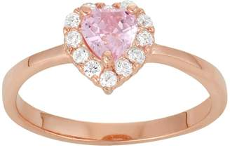 Junior Jewels Kids' 14k Rose Gold Over Silver Cubic Zirconia Heart Ring