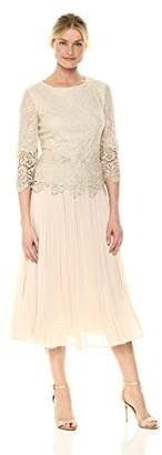 Alex Evenings Women's Tea Length Mock Dress (Petite and Regular)