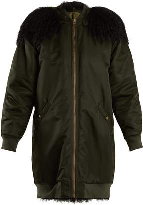 Mr & Mrs Italy Mongolian fur-lined hooded long-line bomber jacket