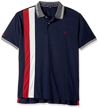 U.S. Polo Assn. Men's Slim Fit Color Block Short Sleeve Poly Pique Polo Shirt