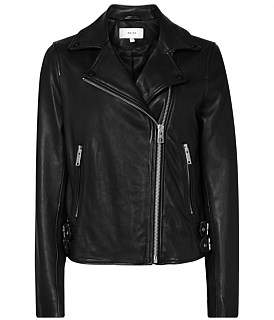 Reiss Caden Leather Biker Jacket