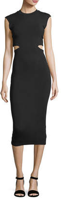 Alexander Wang Stretch-Jersey Fitted Cocktail Dress with Cutout Back