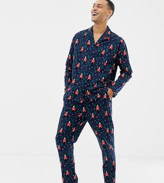 Asos DESIGN mr & mrs Holidays woven pyjama set with nutcracker design