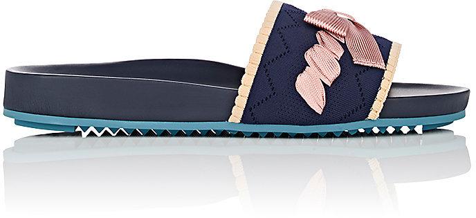 Fendi Women's Bow-Embellished Pointelle Slide Sandals