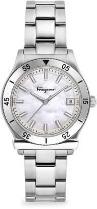 Salvatore Ferragamo 1898 Stainless Steel & Mother-Of-Pearl Bracelet Watch