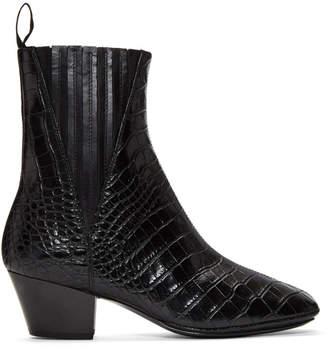 Lemaire Black Croc Soft Chelsea Boots