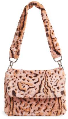 Topshop Teddy Leopard Print Faux Fur Shoulder Bag