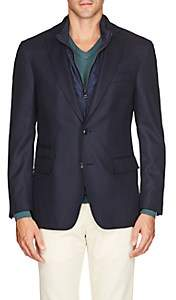 Pal Zileri MEN'S WOOL-MOHAIR JACQUARD TWO-BUTTON SPORTCOAT-NAVY SIZE 42 R