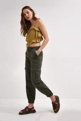BDG Khaki Cuffed Cargo Trousers - green XXS at Urban Outfitters