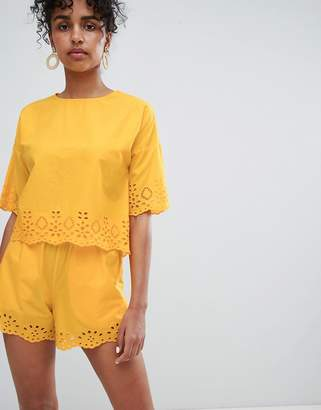 Monki Broderie Detail Shorts Two-piece