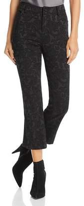 Alice + Olivia Drew Flocked Cropped Flared Jeans in Black