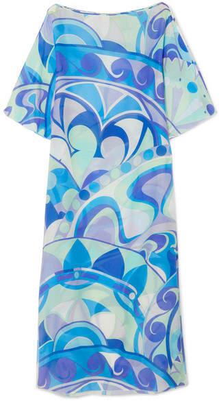 Emilio Pucci - Nigeria Printed Cotton And Silk-blend Voile Maxi Dress - Azure