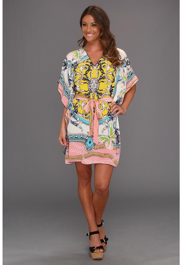 Hale Bob Butterfly Beat Sissi V-Neck Dress (Pink) - Apparel