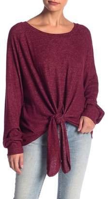 Blu Pepper Tie Front Boatneck Sweater