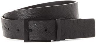 DKNY Black Embossed Logo Reversible Belt