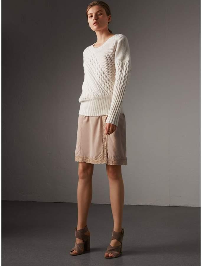 Burberry Lace Trim Silk Skirt