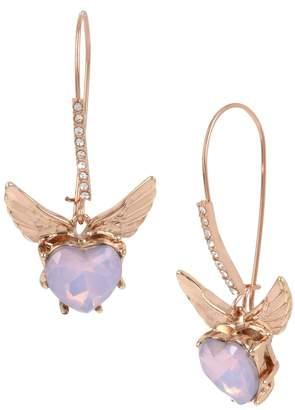 Betsey Johnson Little Angels Crystal Heart Wings Long Drop Earrings
