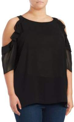 Context Plus Ruffled Cold-Shoulder Top