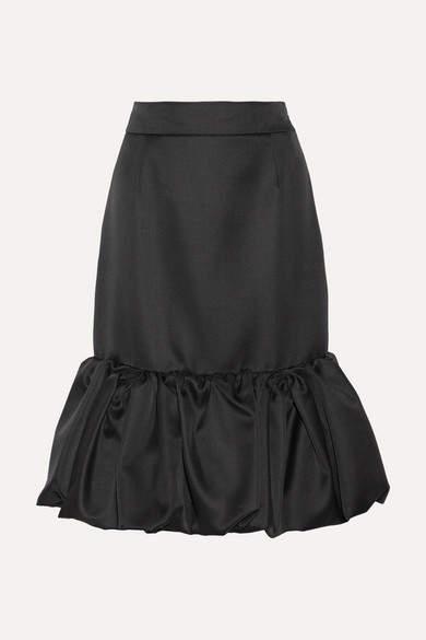 Prada - Wool And Silk-blend Duchesse-satin Skirt - Black