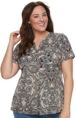 Croft & Barrow Plus Size Print Shirt