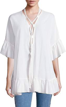 Chloé Women's Crepe Tie Bell Sleeve Tunic