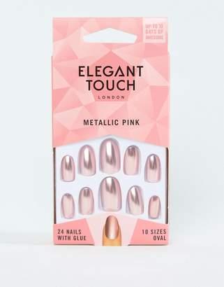 Elegant Touch Almond Metalic Pink False Nails