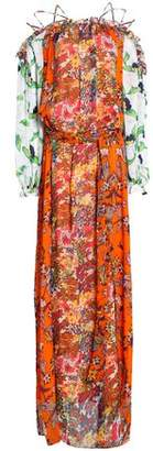 Tory Burch Off-the-shoulder Floral-print Chiffon Maxi Dress