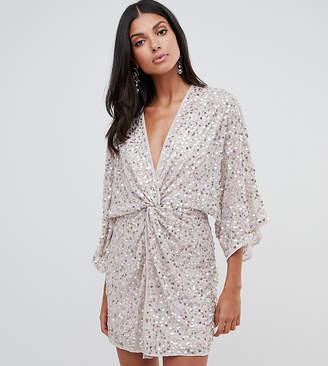 Asos Tall DESIGN Tall scatter sequin knot front kimono mini dress