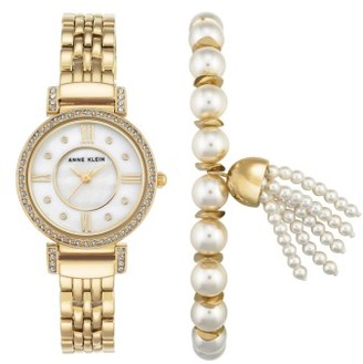 Women's Anne Klein Crystal Watch & Tassel Bracelet Set $125 thestylecure.com