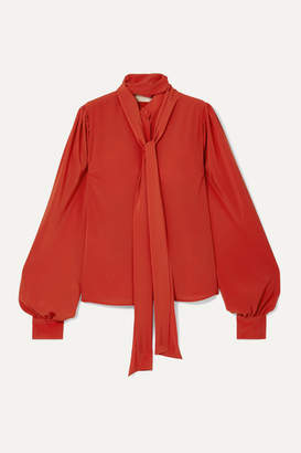 Antonio Berardi Pussy-bow Crepe Blouse - Orange