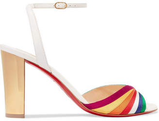 Christian Louboutin Naseebasse 85 Satin And Leather Sandals - White
