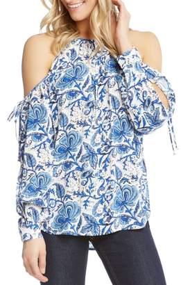 Karen Kane Split Tie Sleeve Cold Shoulder Top