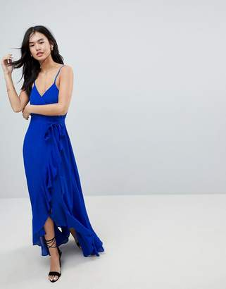 Asos DESIGN ruffle front cami wrap maxi dress