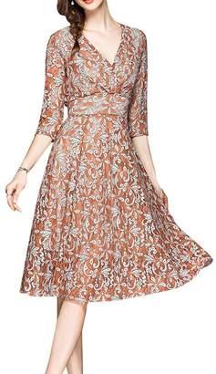 FashionFly Women's Elegant V-Neck Floral Lace A Line Swing Tea Dress