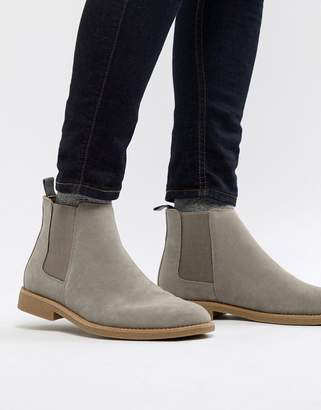 New Look Faux Suede Chelsea Boots In Light Gray