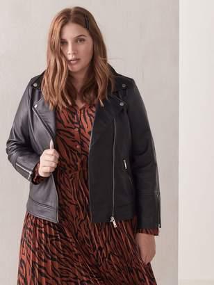 Black Leather Biker Jacket - Addition Elle