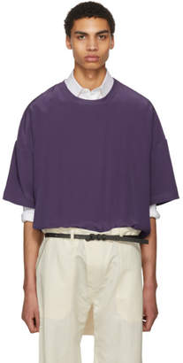 Haider Ackermann Purple Silk Oversized T-Shirt