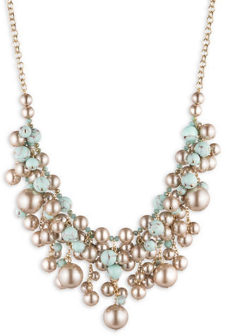 Carolee Carolee Turquoise Sands Statement Faux Pearl Beaded Adjustable Frontal Necklace