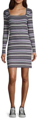 Arizona Long Sleeve Striped Bodycon Dress-Juniors
