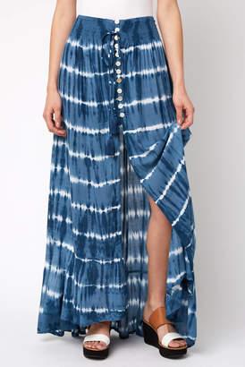 Tiare Hawaii Tie Dye Hi-Lo Pull on Maxi Skirt
