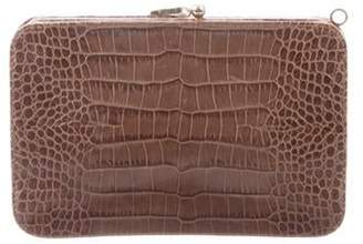 Valentino Embossed Leather Clutch Brown Embossed Leather Clutch