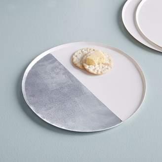 west elm Paper Dinner Plates - Silver + White