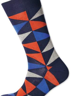 Charles Tyrwhitt Orange and blue multi triangle socks