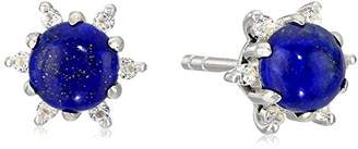 Lapis Sterling Silver Halo Stud Earrings