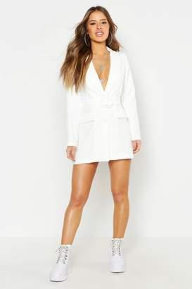 boohoo Petite Woven Self Belt Round Buckle Blazer Dress