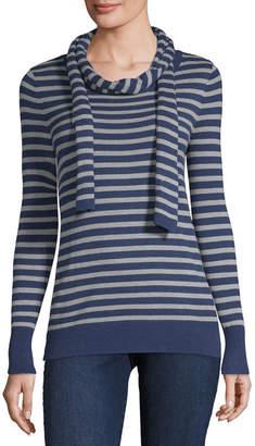 Liz Claiborne Long Sleeve Crew Neck Sweater with Scarf